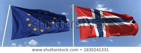Stockfoto: Twee · vlaggen · Noorwegen · eu · geïsoleerd