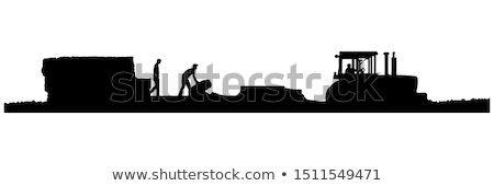 Stock photo: Bale Stacker Baler on Field Vector Illustration