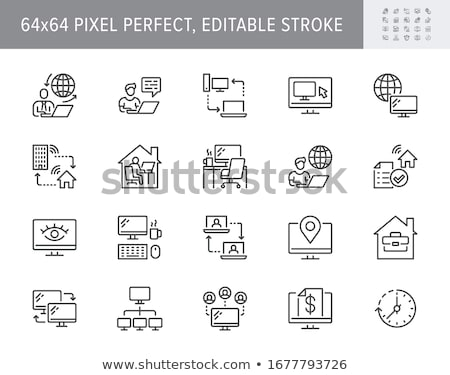 man work on pc computer icon vector Stock photo © blaskorizov