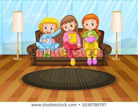 három · lányok · illusztráció · lány · buli · szövet - stock fotó © colematt