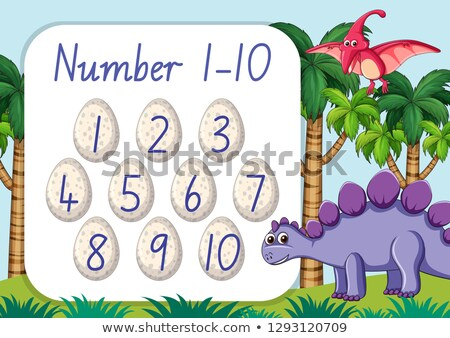 Count number from one to ten dinosaur theme Stock photo © colematt