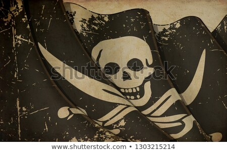 Old Paper Print - Waving Jolly Roger of Calico Jack Stock photo © nazlisart