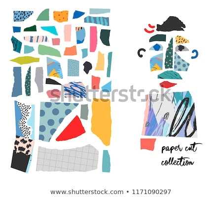 Paper Cut Shapes and Textures Collage Set Stock photo © ivaleksa