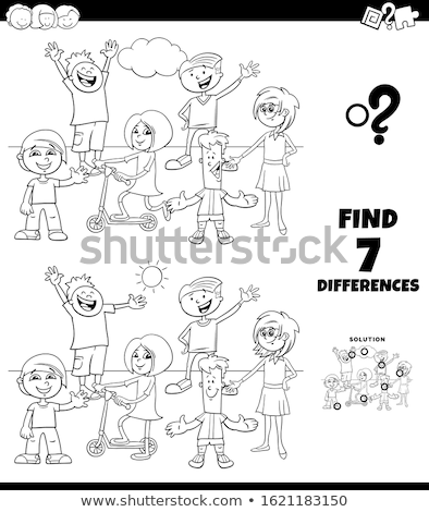 különbségek · feladat · kifestőkönyv · feketefehér · rajz · illusztráció - stock fotó © izakowski