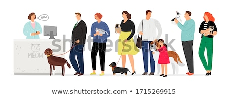 Veterinary Receptionist, Man with Dog in Clinic Stock photo © robuart