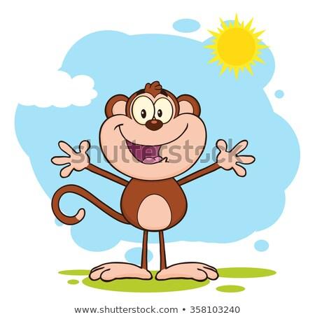 boldog · majom · rajzfilmfigura · áll · nyitva · karok - stock fotó © hittoon