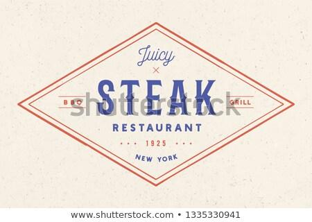 Bistecca logo carne etichetta testo ristorante Foto d'archivio © FoxysGraphic