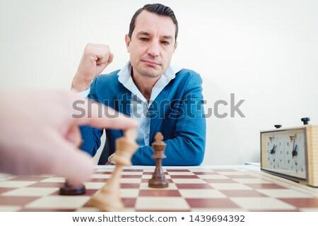 Man vrouw schaakmat business gelukkig schaken Stockfoto © Kzenon