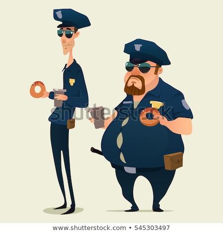 警官 ドーナツ 白 ポップアート レトロな ストックフォト © studiostoks