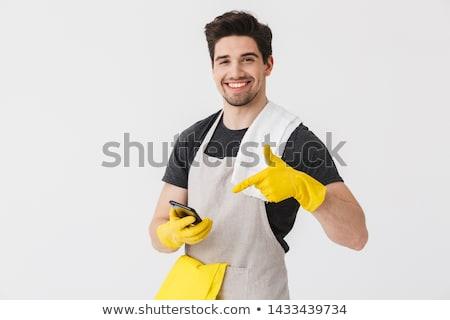 Jungen schönen Magd Reinigung Service eps Stock foto © netkov1