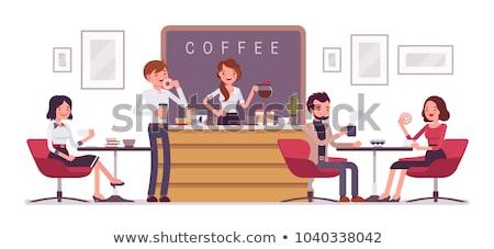 Lányok kávézó rajzolt emberek betűk illusztráció fehér Stock fotó © Decorwithme