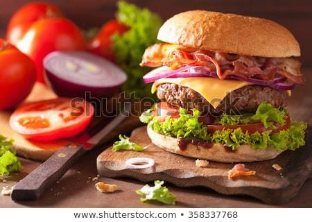 Hamburger taze domates marul yaprak ızgara Stok fotoğraf © robuart