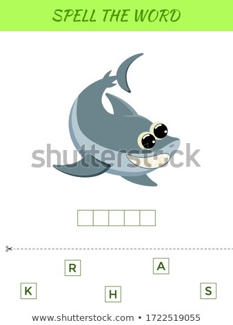 Stock photo: Spelling word scramble game with word shark