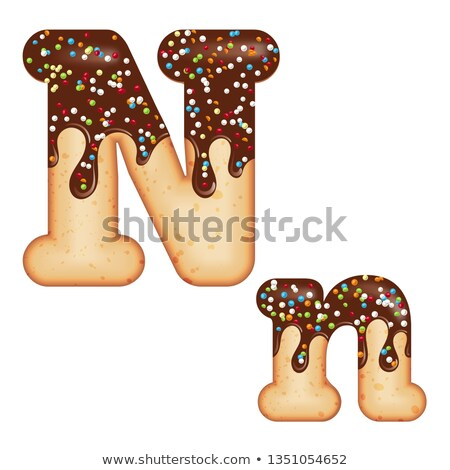Tempting typography. Font design. 3D donut letter N glazed with  Stock photo © balasoiu