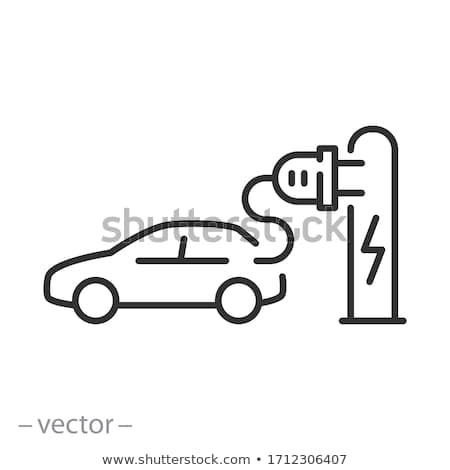 Thin line electric car icon with cord and plug - electrical auto Stock photo © Winner