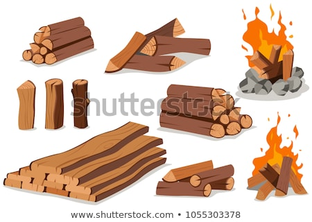 Fireplaces with Wooden Logs Isolated Icons Set Stock photo © robuart