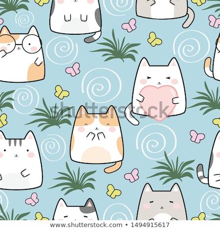 Cute кошки Летние фрукты вектора рисованной Сток-фото © Margolana