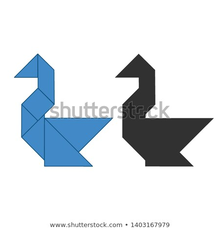 swan Tangram. Traditional Chinese dissection puzzle, seven tiling pieces - geometric shapes: triangl Stock photo © kyryloff