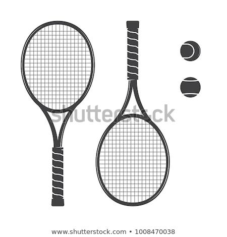 Tenis pelota negro siluetas deporte Foto stock © biv