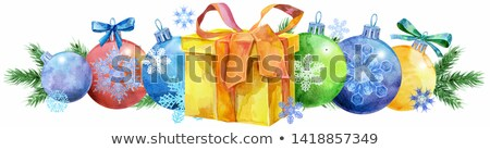 watercolor christmas tree border with gift for your creativity stock photo © natalia_1947