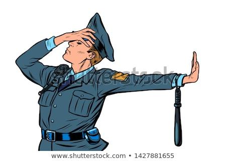 Policial vergonha negação gesto não Foto stock © studiostoks