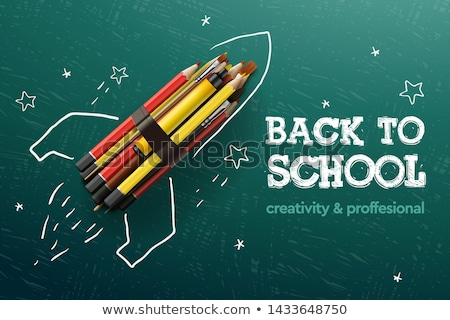 Back to school creative banner. Rocket ship launch with pencils - sketch on the blackboard, vector i Stock photo © ikopylov