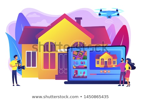 Immobilien Video Tour Paar beobachten Haus Stock foto © RAStudio