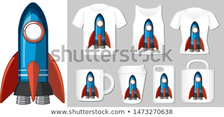 graphic of blue rocket on different product templates stock photo © bluering