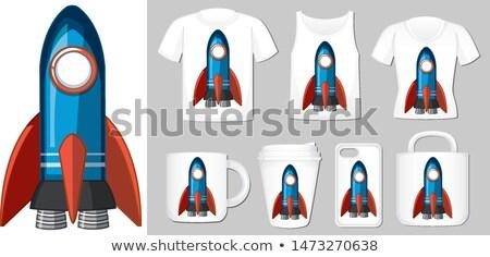 renkli · karikatür · roket · uzay · yalıtılmış · beyaz - stok fotoğraf © bluering