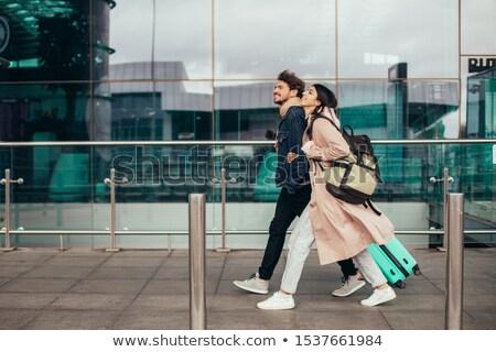 Para walizki miasta lotniska wyjazd wektora Zdjęcia stock © robuart