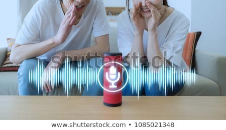 Sem fio alto-falante voz reconhecimento inteligente balcão da cozinha Foto stock © AndreyPopov