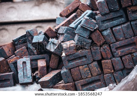 pile red brick wallpaper background close up of industrial bricklayer on construction site stock photo © galitskaya