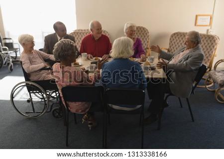 フロント 表示 グループ シニア 友達 朝食 ストックフォト © wavebreak_media