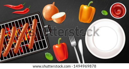 Grill plate Vector realistic. Meat and veggies menu poster. Deta Stock photo © frimufilms