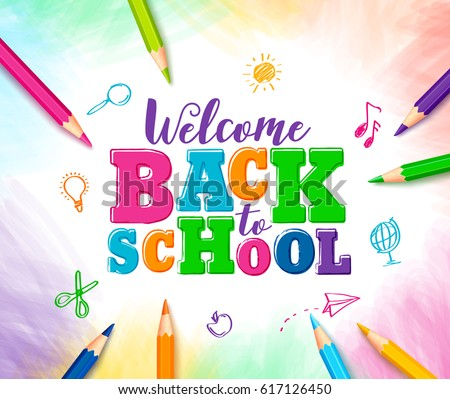 Back to school design with colorful pencil and typography lettering on green chalkboard background.  Stock photo © articular