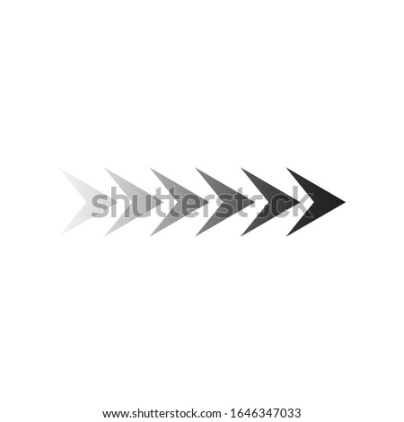 Faded Sideways Arrow Design. six elements for your design. Striped direction. Right turn. Stock Vect Stock photo © kyryloff