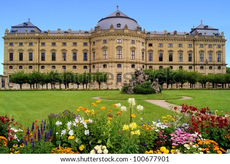 Wurzburg Residenz and colorful gardens view Stock photo © xbrchx