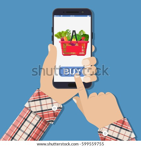 Hand holds the smartphone with online shopping basket. Flat vector modern phone mock-up illustration Stock photo © karetniy