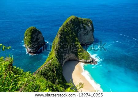 Manta Bay or Kelingking Beach on Nusa Penida Island, Bali, Indonesia Stock photo © galitskaya
