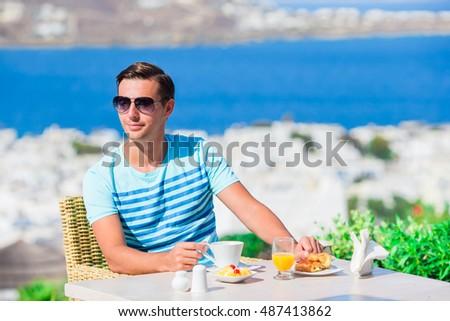 若い男 地中海 朝食 健康 熱帯 スムージー ストックフォト © galitskaya