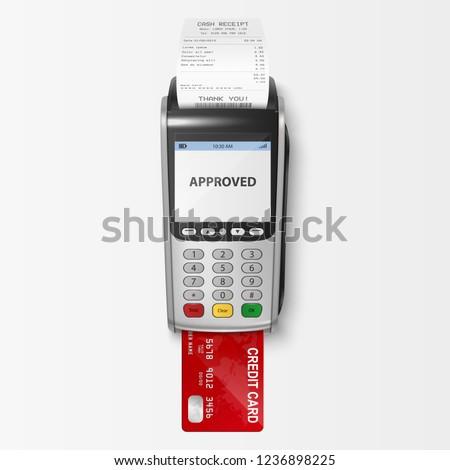 POS terminal and money on white background. Isolated 3D illustra Stock photo © ISerg