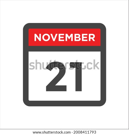 Simple black calendar icon with 21 november date isolated on white Stock photo © evgeny89