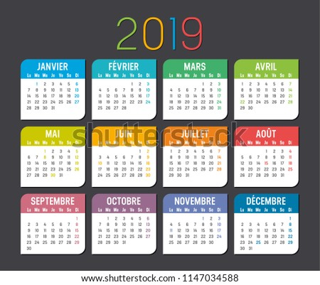 2019 year simple calendar on french language on dark background, a4 vertical sheet size Stock photo © evgeny89