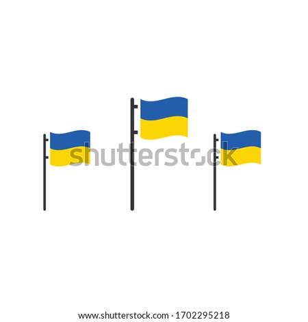 Three Ukrainian vector flags on flag poles. Stock Vector illustration isolated on white background. Stock photo © kyryloff
