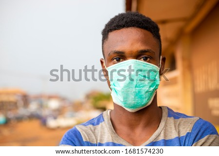 Portrait of black man wearing face medical mask, protection from respiratory virus, cartoon style Stock photo © robuart