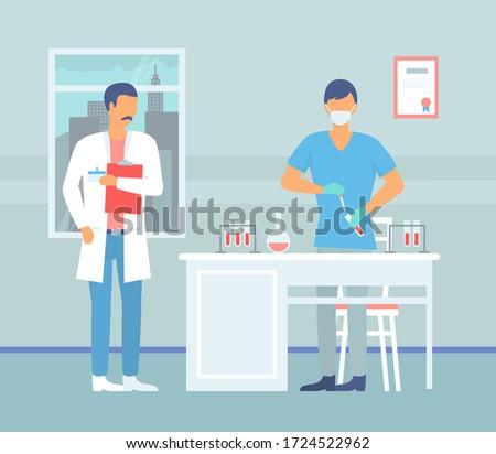 Laboratórium asszisztens gyártmány tudományos kutatás két férfi orvosi Stock fotó © robuart