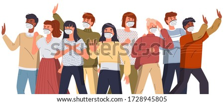 Crowd of multinational people fight with spreading virus pathogen, poster in flat style, stop virus Stock photo © robuart