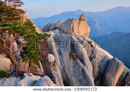 View from Ulsanbawi rock peak on sunset. Seoraksan National Park, South Corea Stock photo © dmitry_rukhlenko