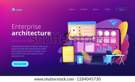 Przedsiębiorstwo architektury lądowanie strona działalności operacja Zdjęcia stock © RAStudio