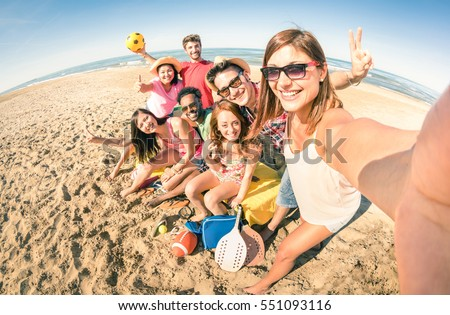 Selfie summer beach vacation fun girl laughing. Happy Asian woman taking self-portrait pictures with Stock photo © Maridav